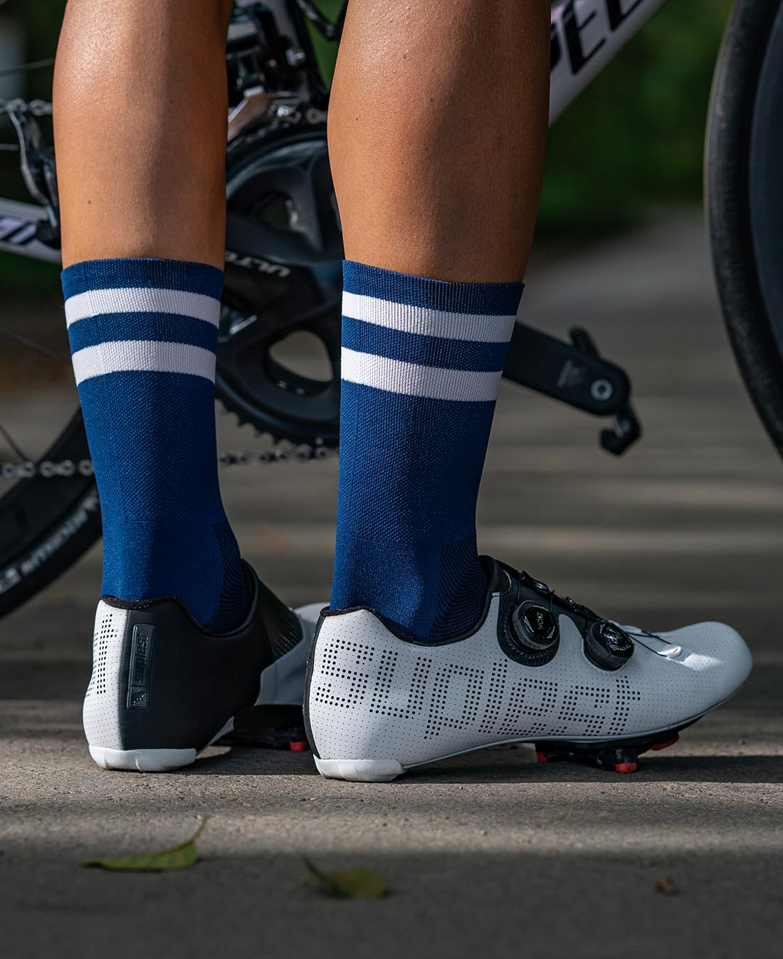 luxa navy socks with double white stripes and specialized bikes