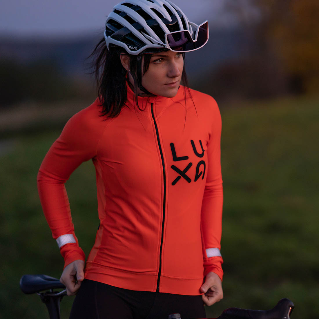 orange vision long sleeve jacket for men and woman cyclists