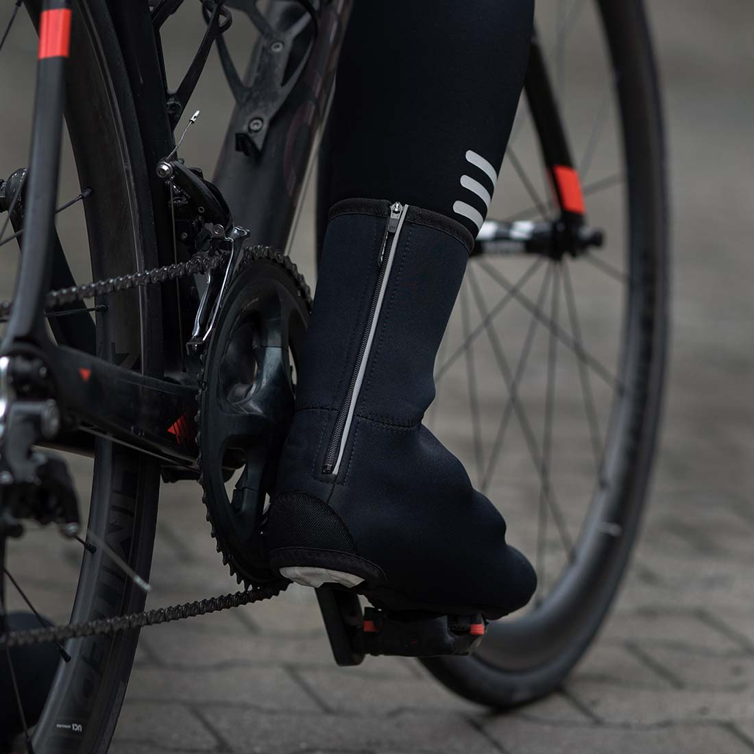 all black neoprene cycling overshoes made by Luxa in Poland