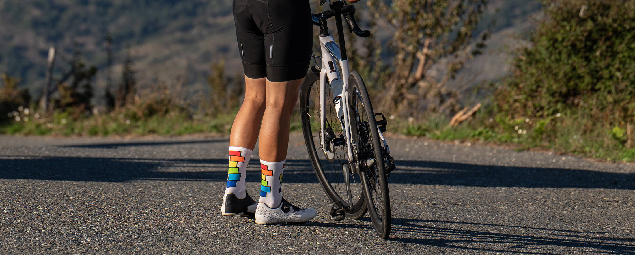 colorful cycling socks with rainbow lgbt pattern