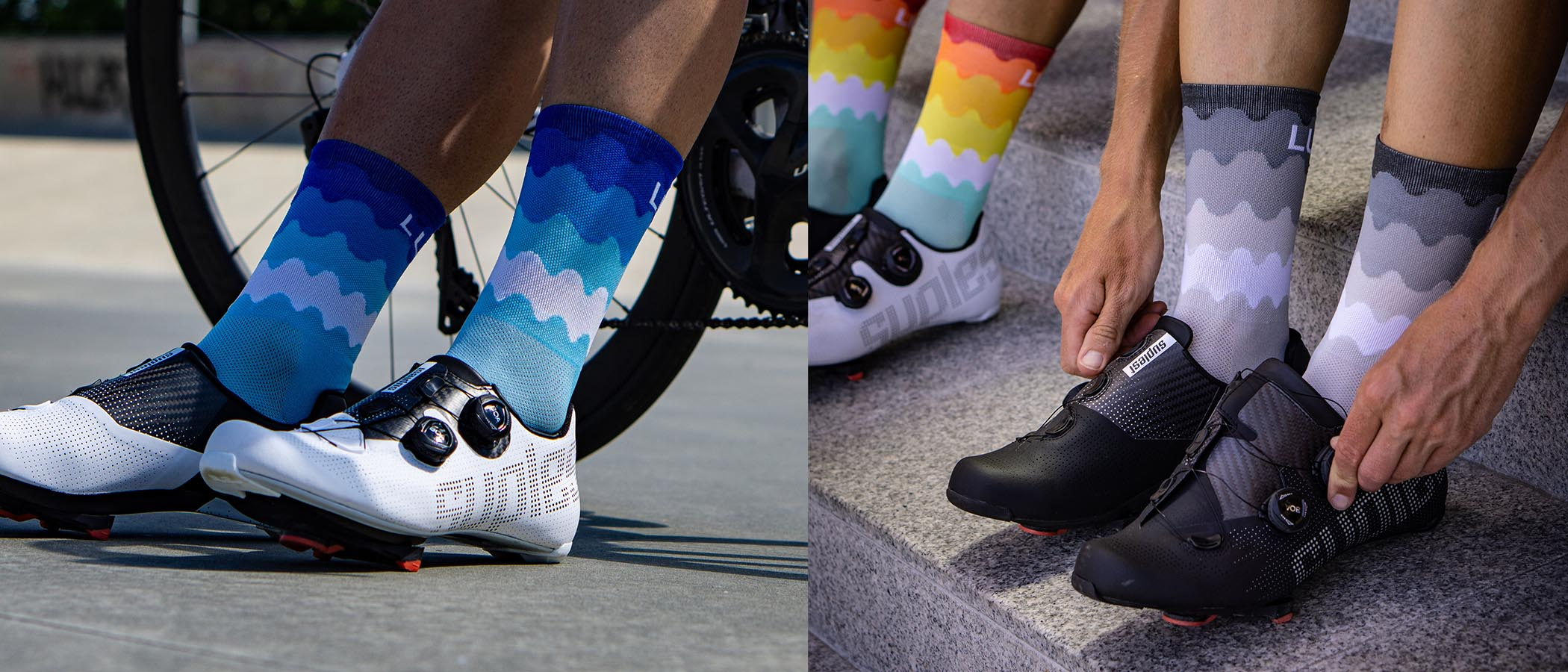 wave style original look of the Luxa Tenerife cycling socks