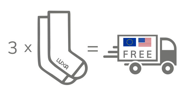 Luxa free shipping in EU and USA. Buy 3 pairs of socks and get free shipping by Polish Post