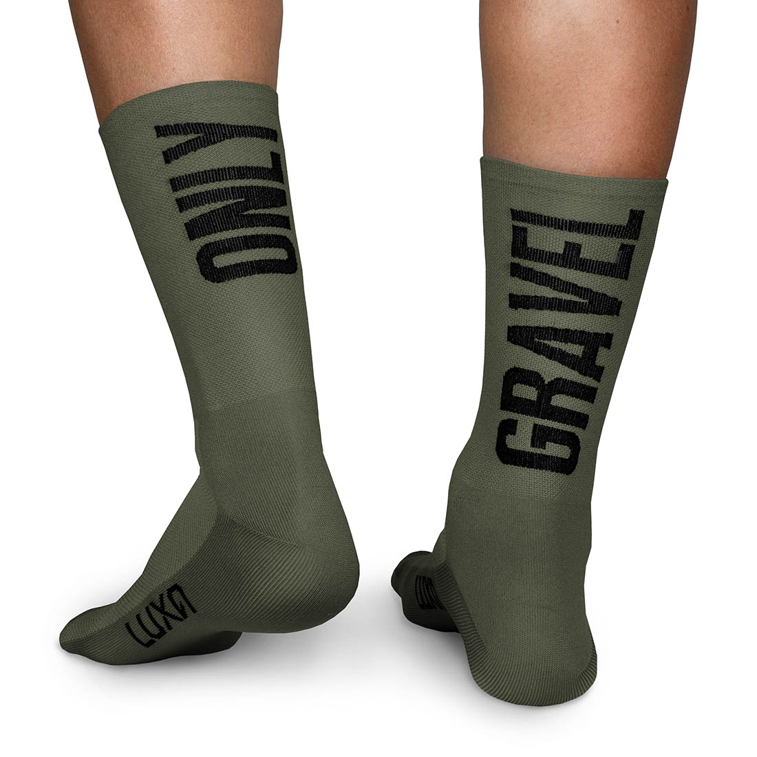 gravel cycling socks in khaki yarn color made by Luxa